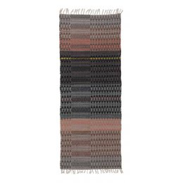 Fairtrade Wool & Cotton Woven Runner Rug - Grey and Orange - 80 x 200cm