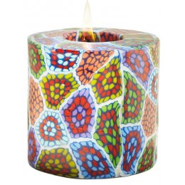 Swazi Fair Trade Mosaic Pillar Candle - 9cm