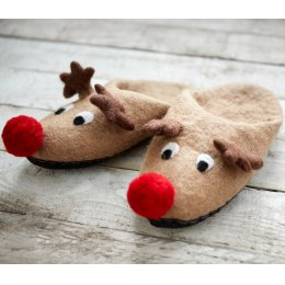 Rudolf Reindeer Christmas Slippers - One Size