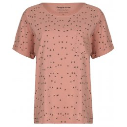 People Tree  Bird Print Short Sleeve Pyjama Top - Pink