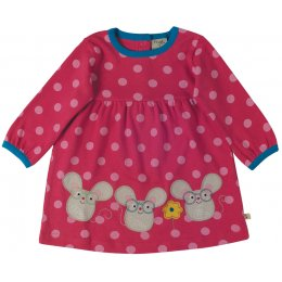 Frugi Dolcie Pink Spot Three Mice Dress