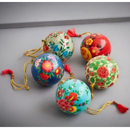 Assorted Floral Hanging Christmas Baulbles - Set Of 5