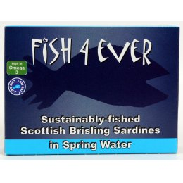 Fish 4 Ever Scottish Brisling Sardines In Spring Water - 105g