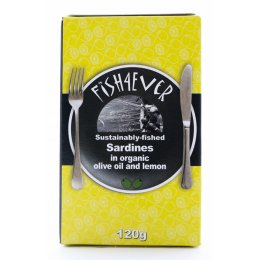 Fish 4 Ever Whole Sardines In Organic Olive Oil & Lemon - 120g