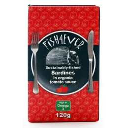 Fish 4 Ever MSC Whole Sardines In Organic Tomato Sauce - 120g