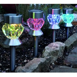 Solar Powered 3-in-1 Crystal Glass Stake Lights – Pack of 4