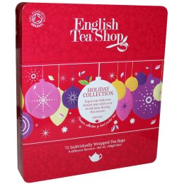 English Tea Shop Organic Red Baubles Tin - 72 Individually Wrapped Bags