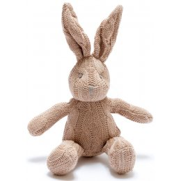 Organic Cotton Knitted Bunny Rabbit Rattle Toy - Brown