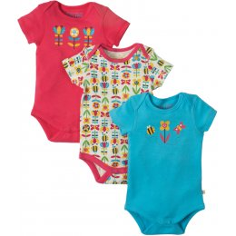 Frugi Super Special Bumble Bloom Baby Body - Pack of 3