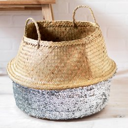 Toulouse Large Sequin Basket - Silver