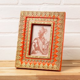 Orange Hand-Painted Wood & Metal Picture Frame - 4 x 6