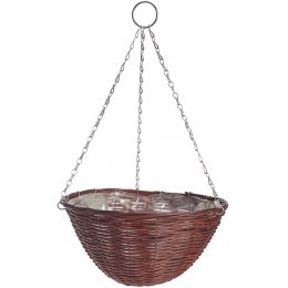 Rattan Effect Brown Hanging Basket