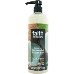 Faith in Nature Shower Gel & Foam Bath - Coconut - 740ml