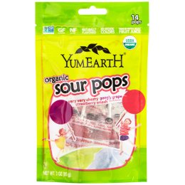 YumEarth Sour Organic Lollipops Assorted Flavours - 14 Pops