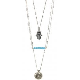 Fair Trade Hamsa Hand Layered Necklace