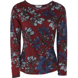 Nomads Organic Cotton Fitted Jersey Floral Top - Cranberry