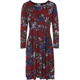 Nomads Organic Cotton Flared Jersey Floral Dress - Cranberry