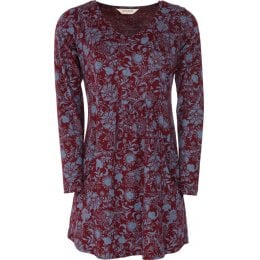 Nomads Organic Cotton Foral Tunic Top - Cranberry