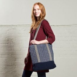 Nomads Handloom Cotton Diamond Shopper - Navy
