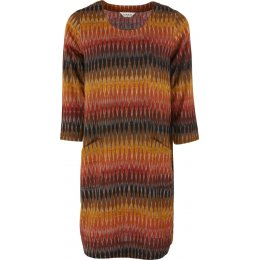Nomads Handloom Cotton Ikat Tunic Dress - Cinnamon