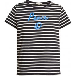 People Tree Organic Peace T-Shirt - Navy Stripe