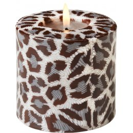 Swazi Fair Trade Grey Leopard Print Pillar Candle - 9cm