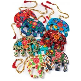 Hand Painted Papier Mache Hanging Elephant - Set of 4