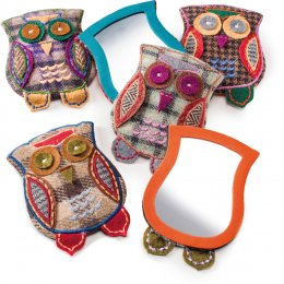 Embroidered Owl Tweed Pocket Mirror