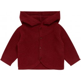 Sense Organics Paul Hooded Baby Sweater - Bordeaux