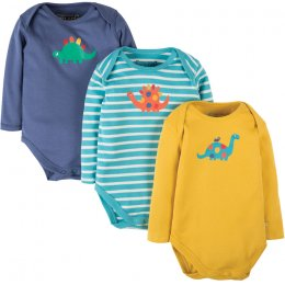 Frugi Super Special Baby Body - Dino - Pack of 3