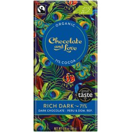 Chocolate & Love Organic & Fairtrade Rich 71 percent  Dark Chocolate Bar - 80g