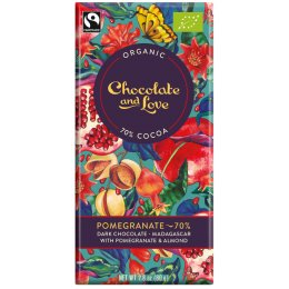 Chocolate & Love Organic & Fairtrade Pomegranate & Almond 70 percent  Dark Chocolate Bar - 80g