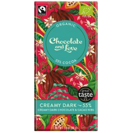 Chocolate & Love Organic & Fairtrade Creamy 55 percent  Dark with Cacao Nibs Chocolate Bar - 80g