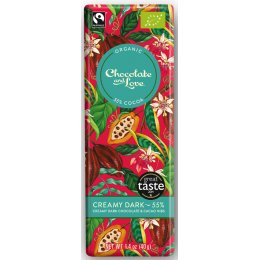 Chocolate & Love Organic & Fairtrade Creamy 55 percent  Dark with Cacao Nibs Chocolate Bar - 40g