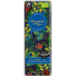 Chocolate & Love Organic & Fairtrade Rich 71 percent  Dark Chocolate Bar - 40g