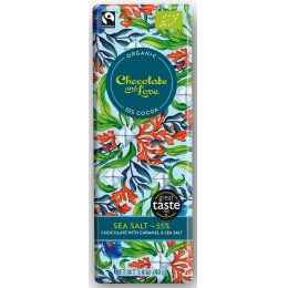 Chocolate & Love Organic & Fairtrade Sea Salt & Caramel 55 percent  Dark Chocolate Bar - 40g