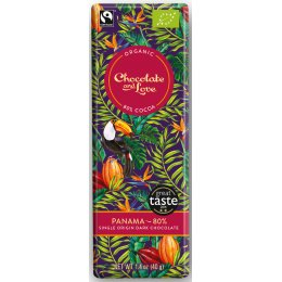 Chocolate & Love Organic & Fairtrade Panama 80 percent  Dark Chocolate Bar - 40g