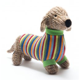 Knitted Sausage Dog Soft Toy - Large