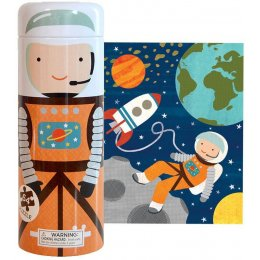 Petit Collage 64-Piece Tin Canister Puzzle - Into Space