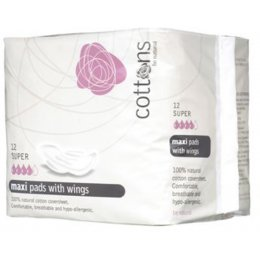 Cottons Natural Super Maxi Pads with Wings - Pack of 12