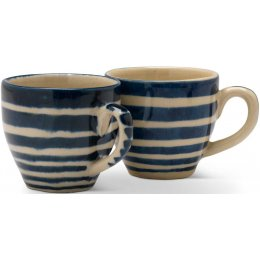 Hand Painted Striped Espresso Cups - Set of 2