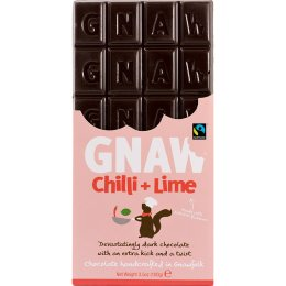 Gnaw Fair Trade Chilli & Lime Dark Chocolate Bar - 100g