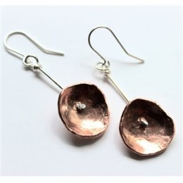 LA Jewellery Recycled Nectar Copper and Silver Drop Earrings