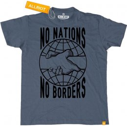 All Riot No Nations No Borders T-Shirt - Denim Blue