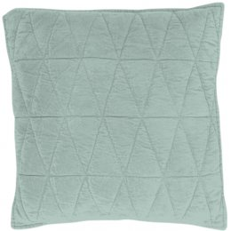 Geometric Cotton Velvet Filled Cushion - Sea Green