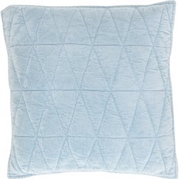 Geometric Cotton Velvet Filled Cushion - Storm Blue