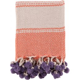 Cotton Tassle and Pom Pom Throw - Orange