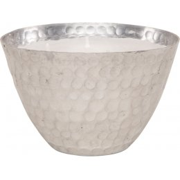 Hammered Metal Bowl Triple Wick Scented Candle - Silver