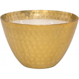 Hammered Metal Bowl Triple Wick Scented Candle - Gold