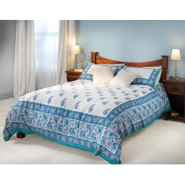 Turquoise Paisley Duvet Cover Set - King Size